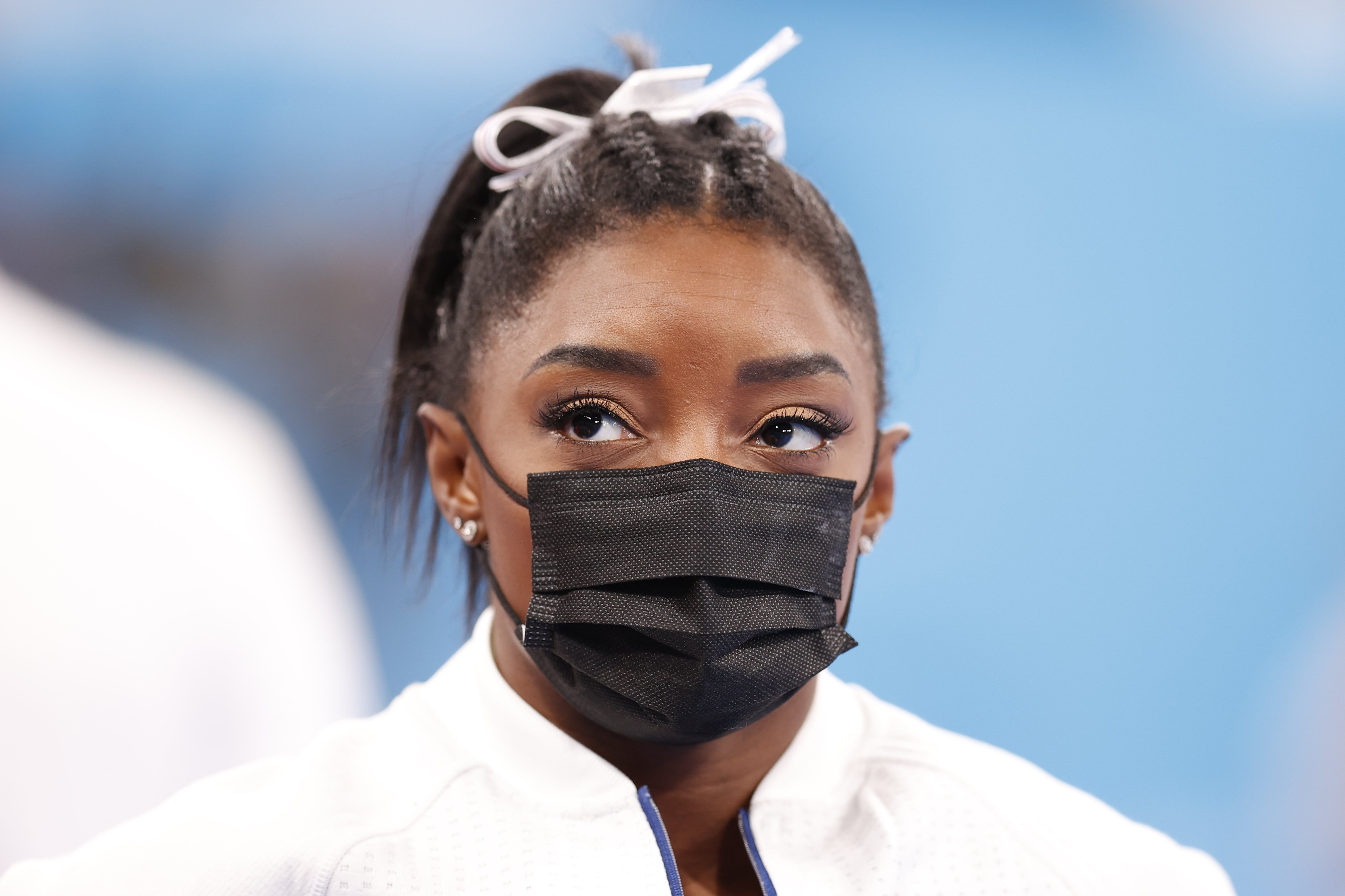 Simone Biles of Team United States looks on during the Women's Team Final on day four of the Tokyo 2020 Olympic Games at Ariake Gymnastics Centre on July 27, 2021 in Tokyo, Japan.| Source: Getty Images
