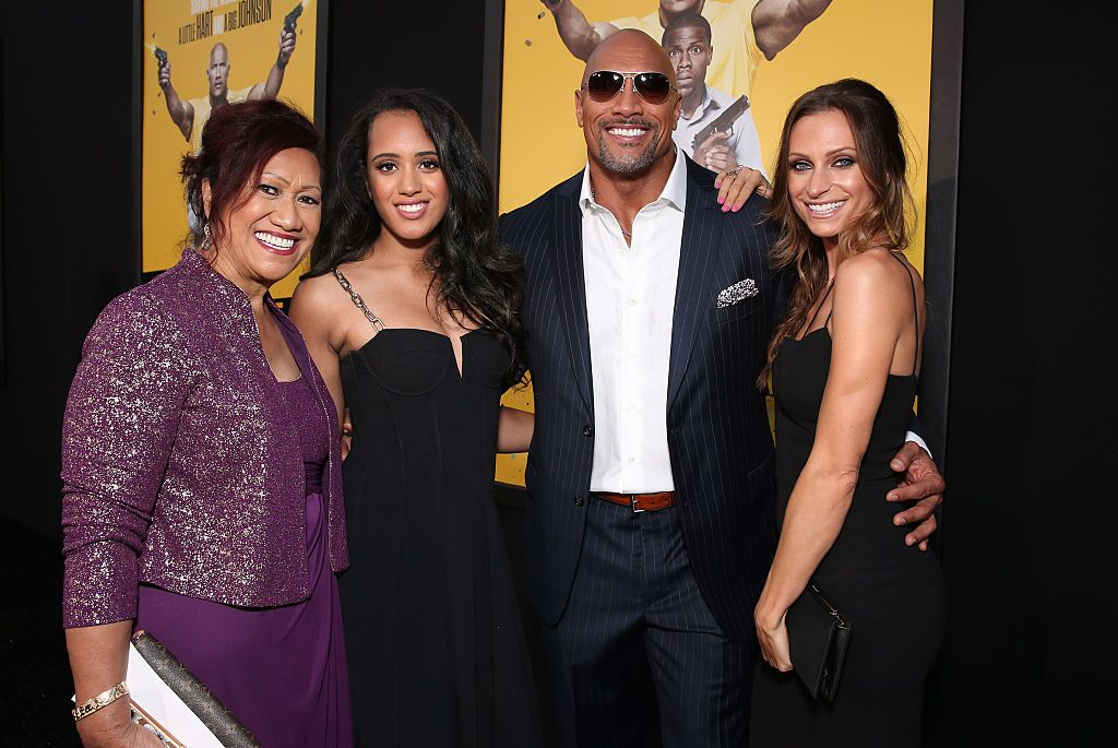 "Dwyane Johnson and his family at the premiere of ""Central Intelligence"" in 2016 