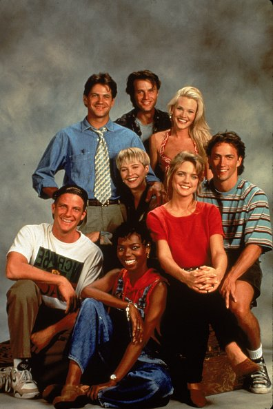 "Promotional portrait of the cast of the TV series, ""Melrose Place,"" circa 1992. 