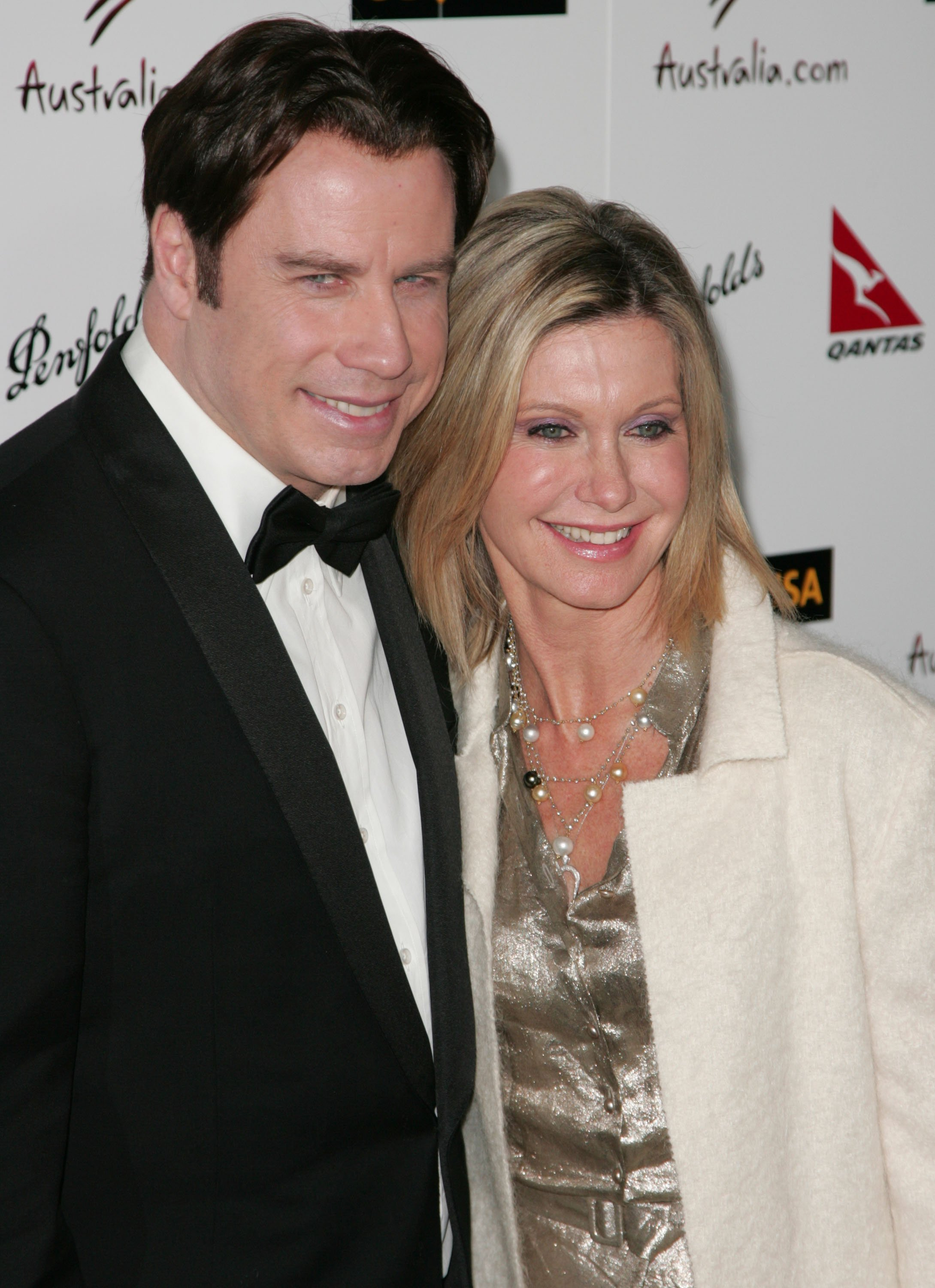 John Travolta and singer Olivia Newton-John arrive at the G'DAY USA Australia.com Black Tie Gala held at the Hollywood and Highland Grand Ballroom on January 19, 2008, in Hollywood, California. | Source: Getty Images.