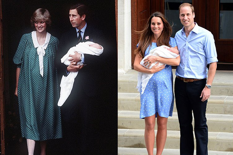 Princess Diana in June 1982 and Duchess Kate Middleton in July 2013 | Photo: Getty Images