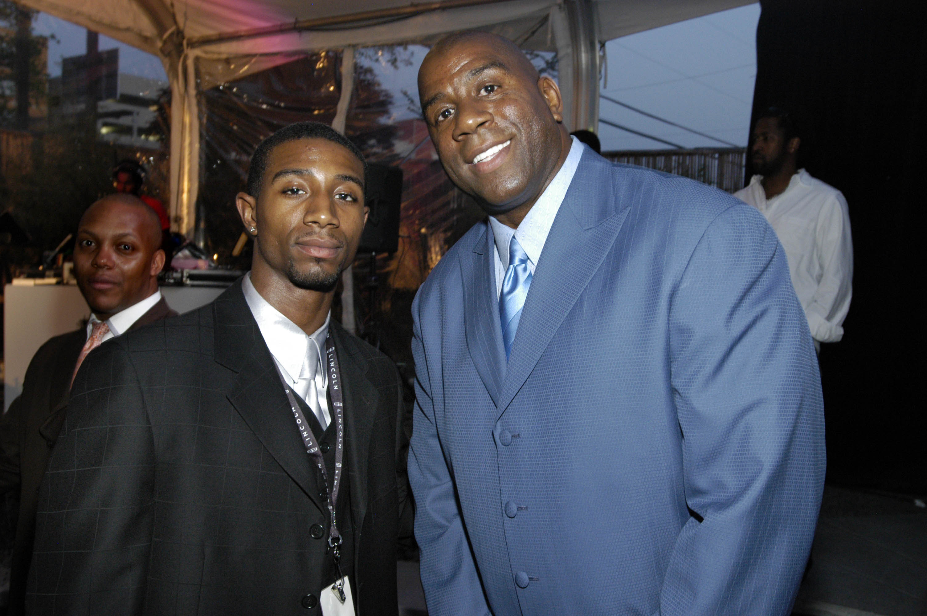 "Andre Johnson and Earvin ""Magic"" Johnson during the Lincoln Luxury Event with Earvin ""Magic"" Johnson and New Edition at Compound in Atlanta, Georgia, United States, April 20, 2005 