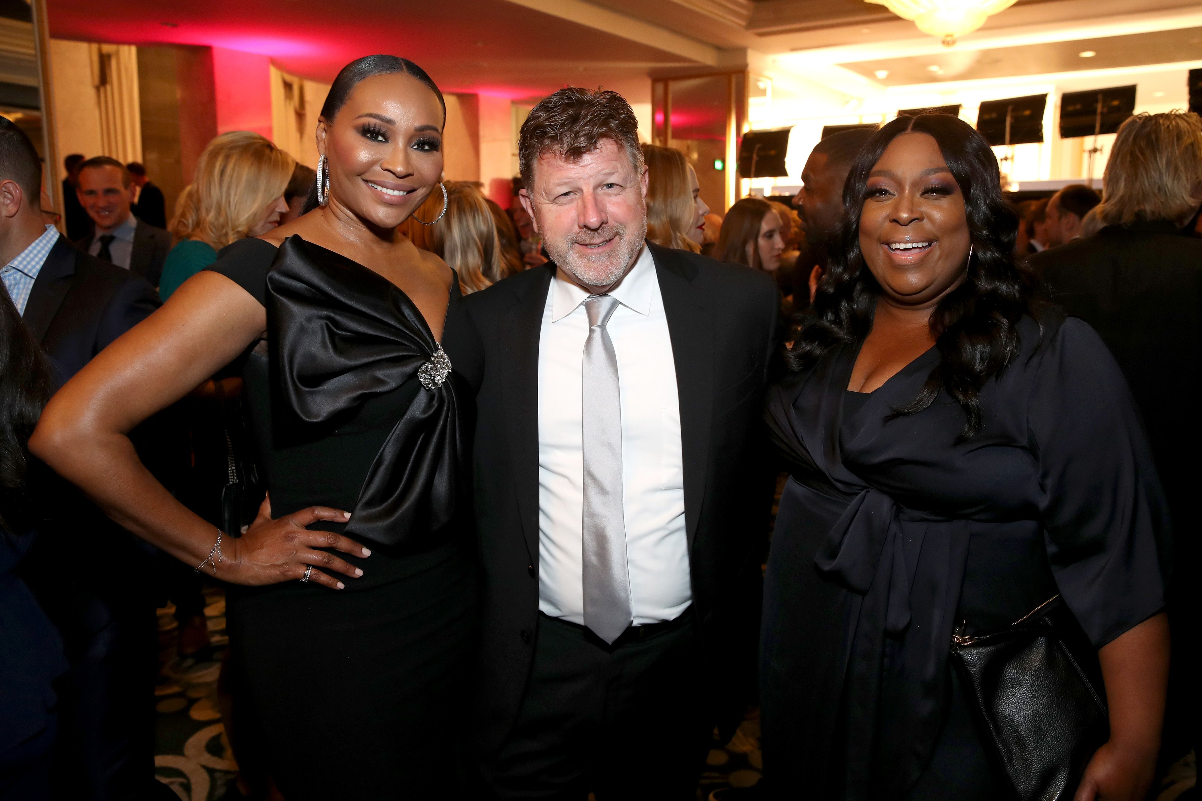 "Cynthia Bailey, James Welsh, and Loni Love attend WCRF's ""An Unforgettable Evening"" at Beverly Wilshire, A Four Seasons Hotel on February 27, 2020 in Beverly Hills, California. 