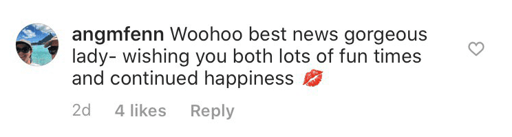 User angmfenn's comment on Amy Roloff's engagement announcement| Photo: Instagram/ AmyJRoloff