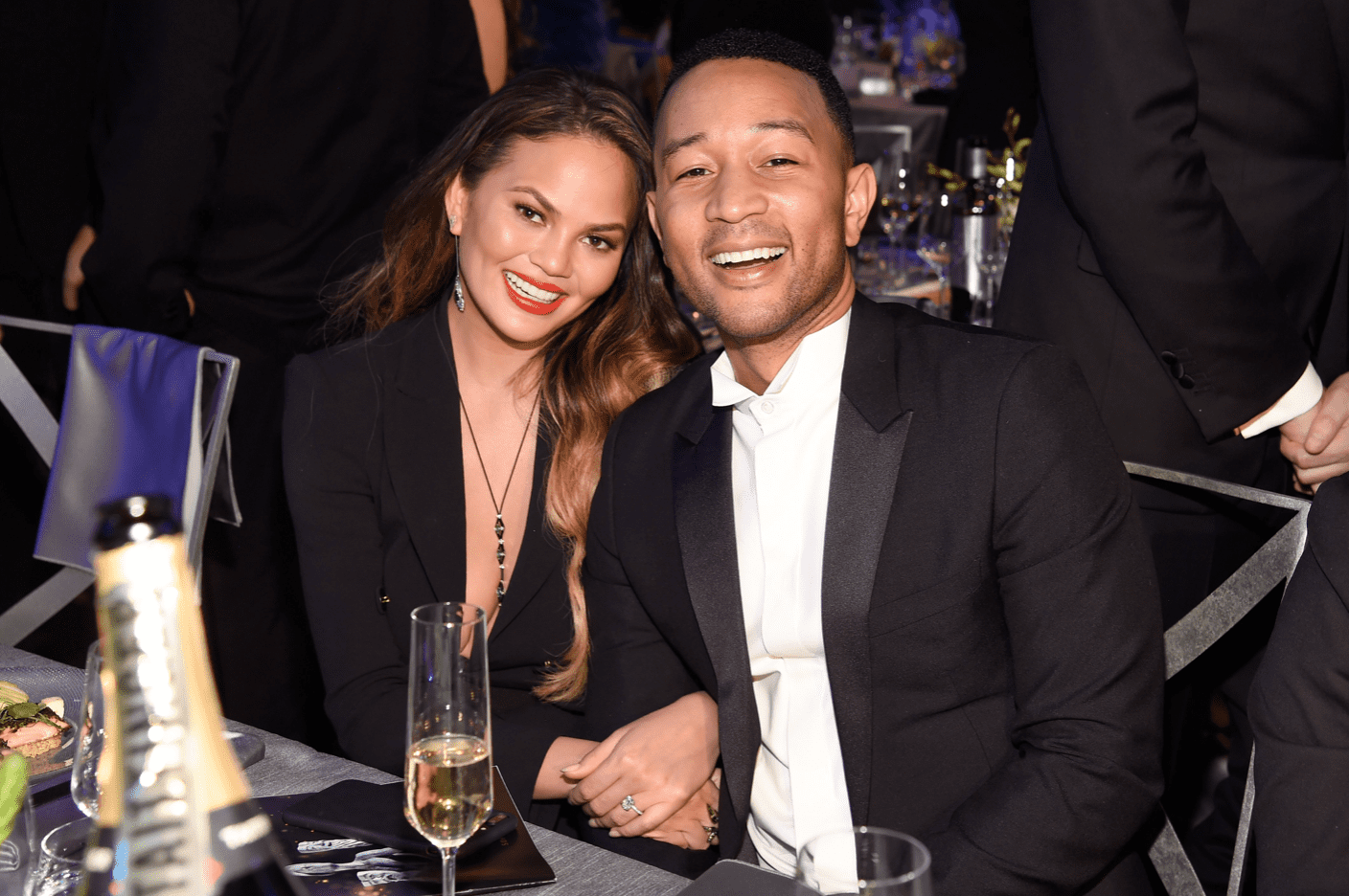 Chrissy Teigen and John Legend during the 23rd Annual Screen Actors Guild Awards on January 29, 2017 in Los Angeles, California. | Source: Getty Images