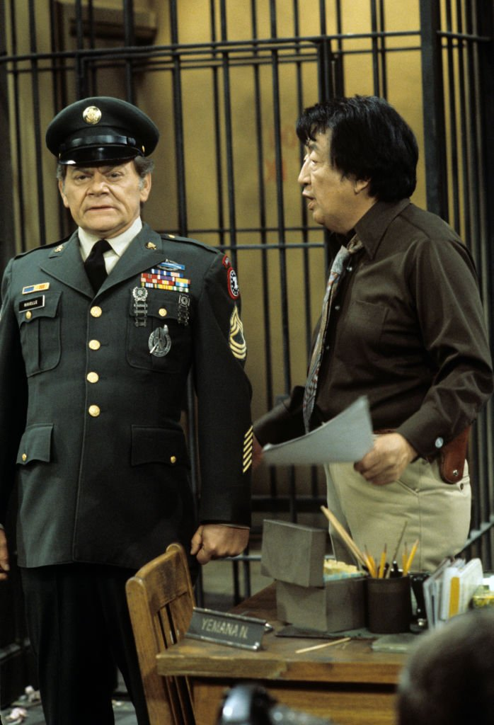 """Actor Jack Soo during his scene in """"Barney Miller"""" episode """"Group Home,"""" with George Murdoch in 1977. 