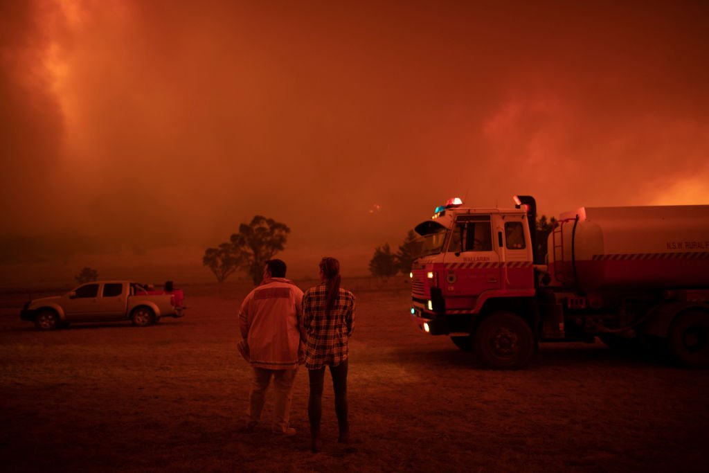 Bushfire approaching local residence near Canberra, Australia. February 1, 2020 | Source: Getty Images