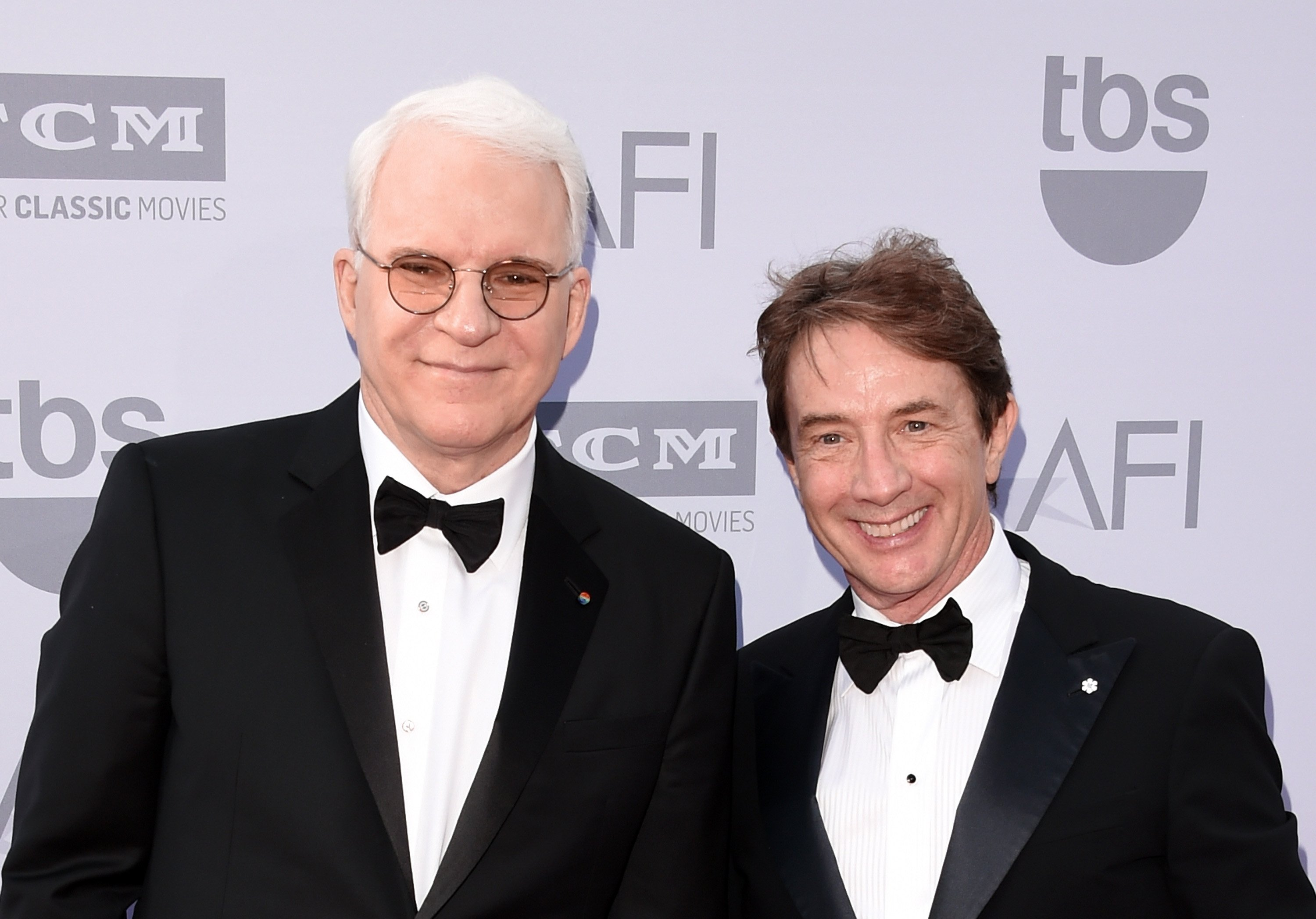Honoree Steve Martin (L) and actor Martin Short attend the 2015 AFI Life Achievement Award Gala Tribute Honoring Steve Martin at the Dolby Theatre on June 4, 2015 in Hollywood, California.| Source: Getty Images