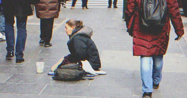 Jillian was begging for money at her usual spot.   Source: Shutterstock