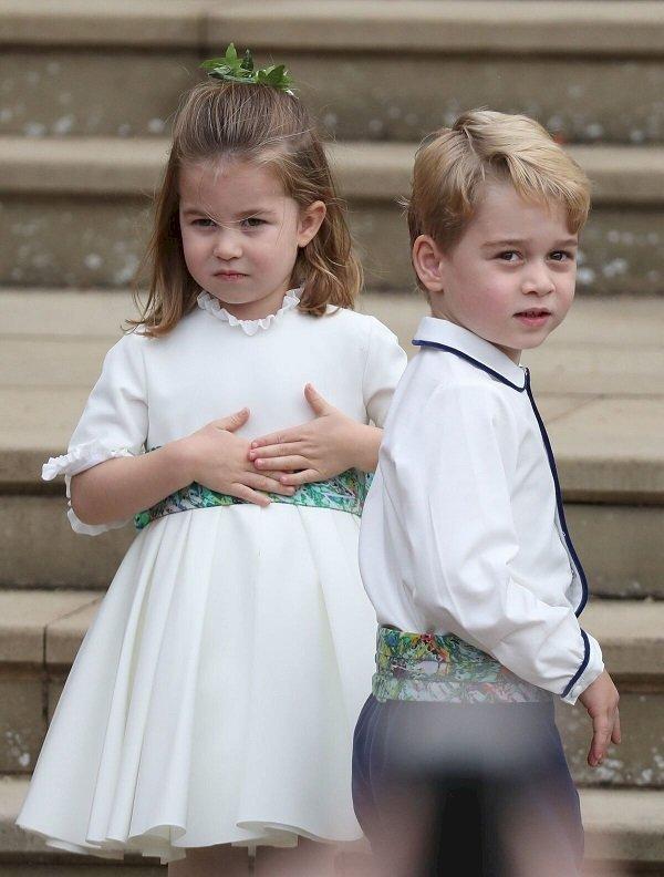 Le prince George et la princesse Charlotte au mariage de la princesse Eugenie à la chapelle St. George's le 12 octobre 2018   Photo : Getty Images