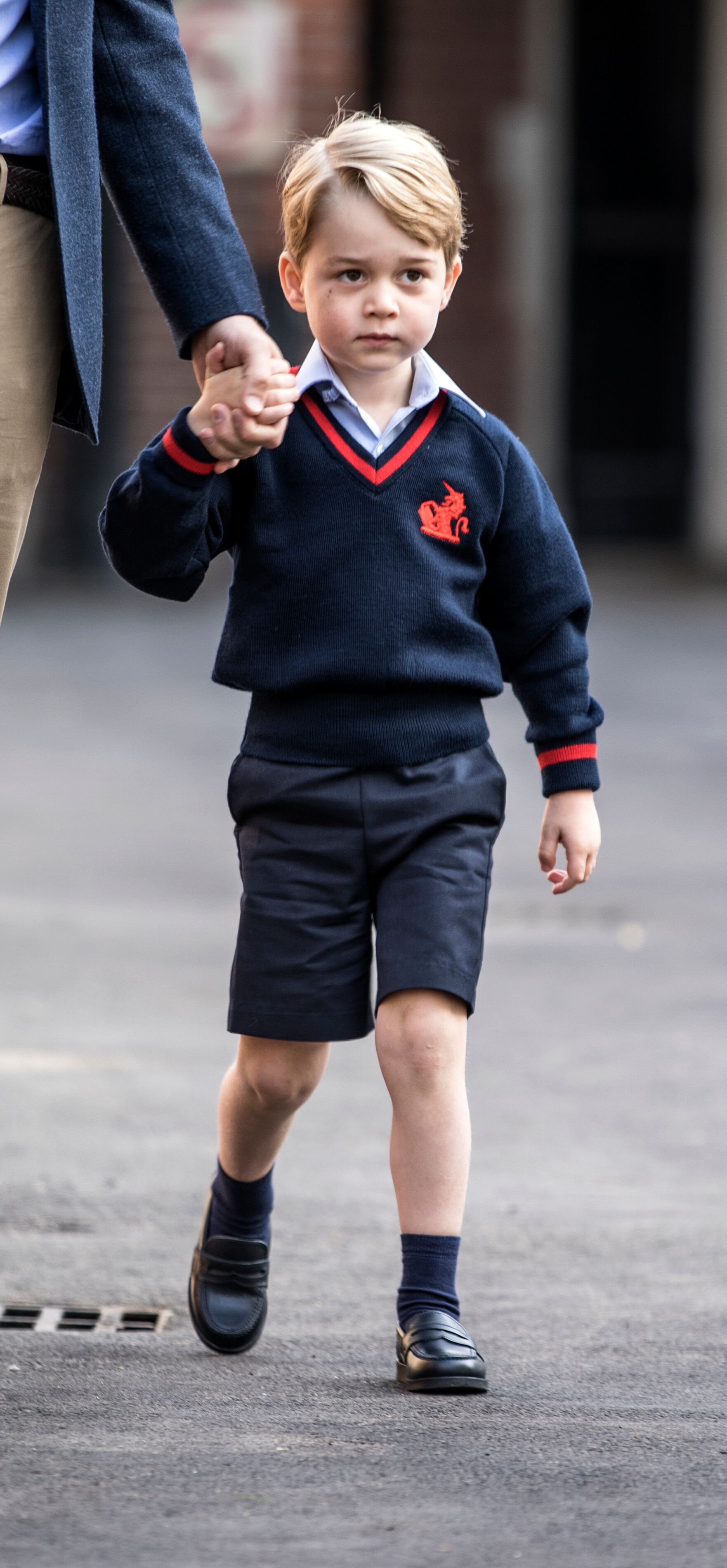 Prince George of Cambridge arrives for his first day of school at Thomas's Battersea.   Source: Getty Images