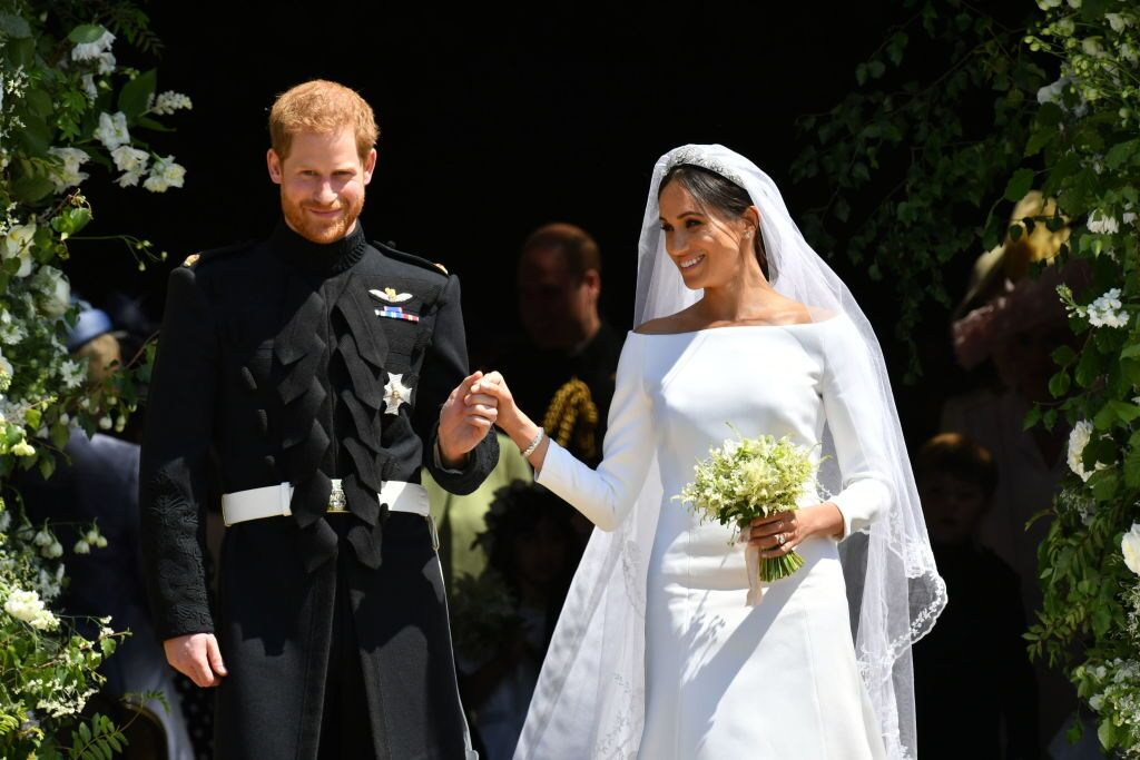 Prince Harry and Meghan Markle leave St George's Chapel after their wedding. | Source: Getty Images