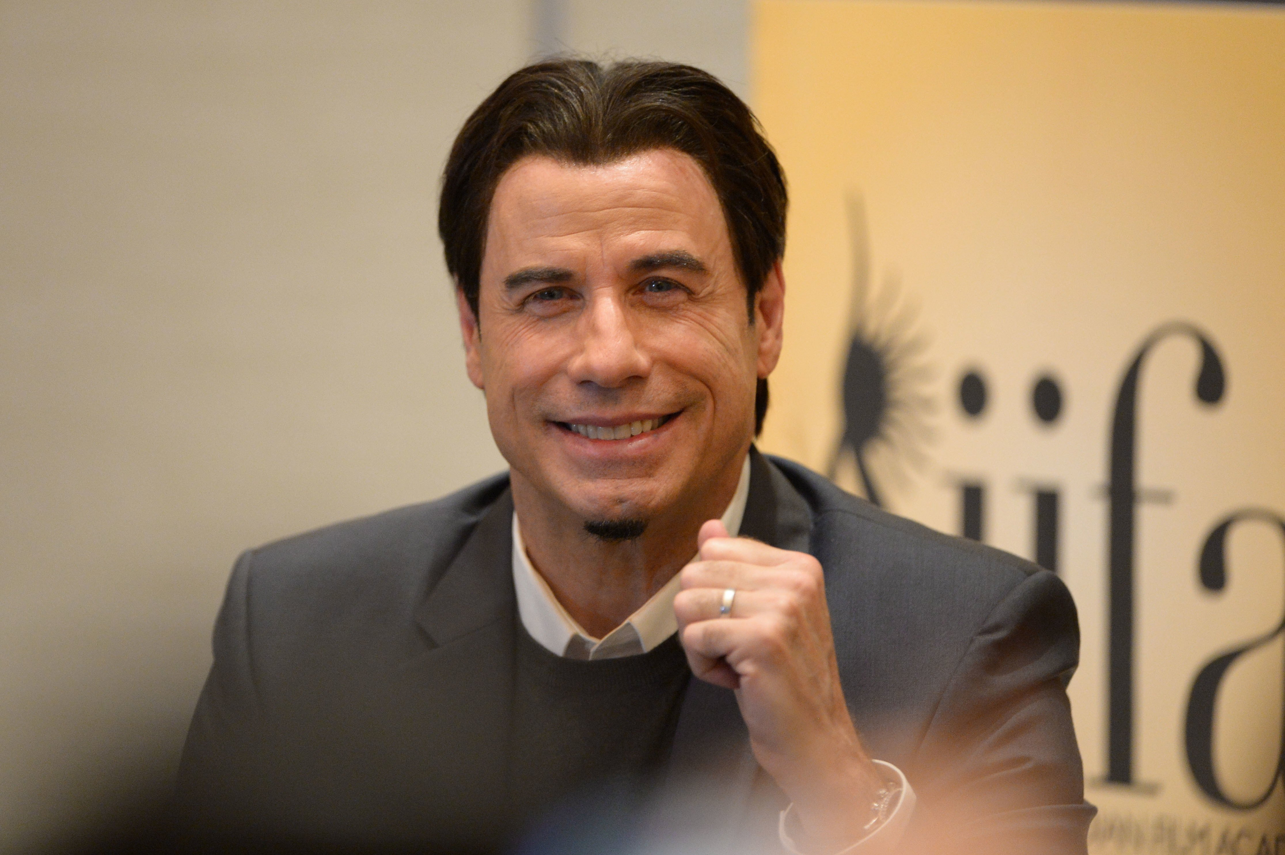 ohn Travolta attends a press conference during the IIFA Awards week at Hilton Tampa Downtown on April 26, 2014 in Tampa, Florida. | Source: Getty Images
