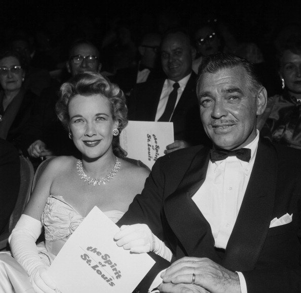 """Clark Gable and wife Kay Spreckels at the premier of """"The Spirit of St. Louis"""" in Los Angeles, California on April 11, 1957. 