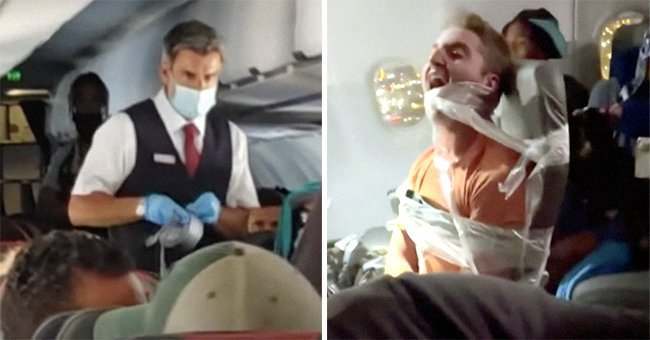 A flight attendant with duct tape in his hands [left]; a passenger duct-taped to his airplane seat [right].   Source: youtube.com/Inside Edition