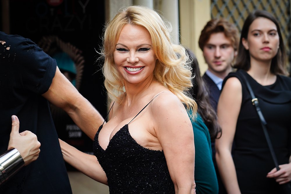 "Pamela Anderson at the ""Bionic ShowGirl"" premiere in Paris, France in June 2019. 