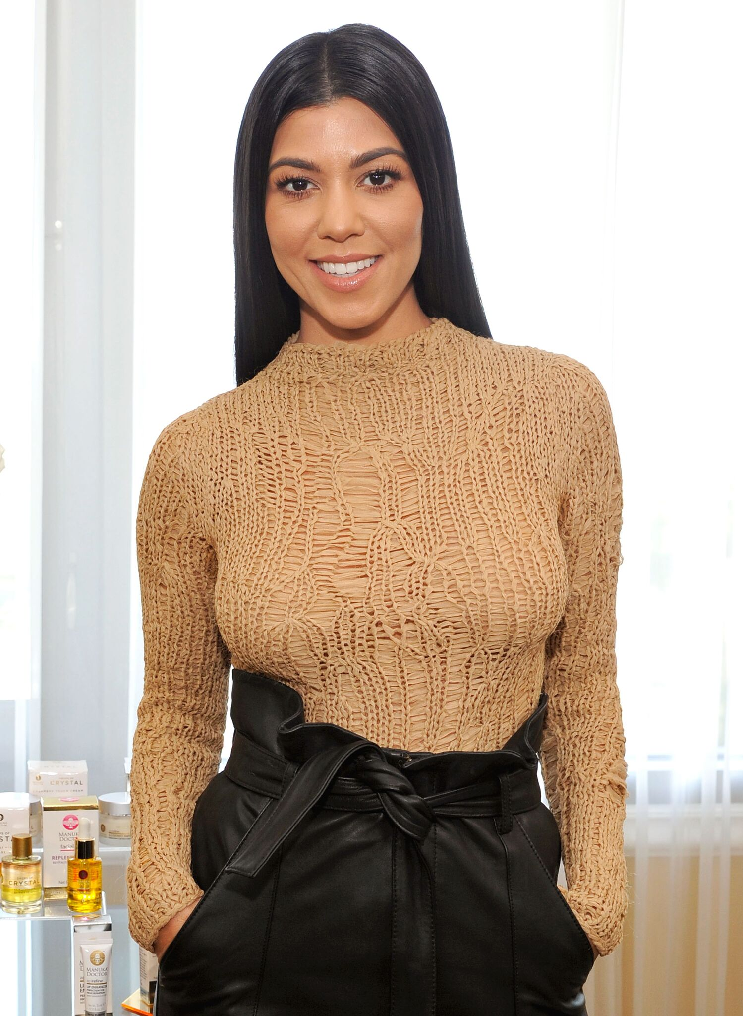 """Kourtney Kardashian films an episode of Amazon's live stream fashion and beauty show """"Style Code Live"""" at Four Seasons Hotel  