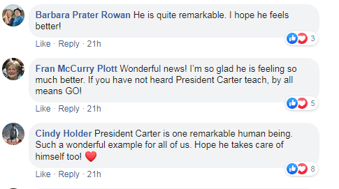 Comments from Facebook users on the news of Jimmy Carter's return to giving Sunday school lessons after fracturing his hip. | Source: Facebook/MBCPlains