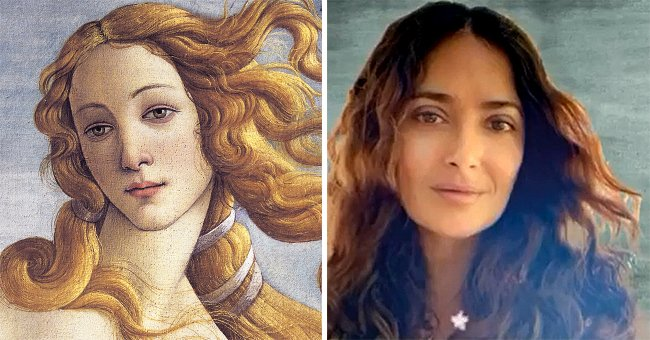 Salma Hayek, 54, Flaunts Her Long-Flowing Hair as She Poses like Botticelli's Iconic Venus