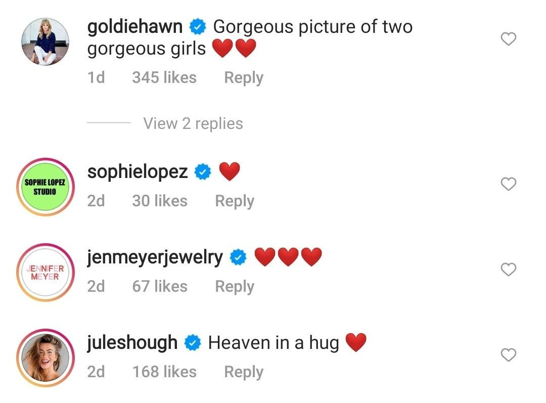 Goldie Hawn's comment on Kate Hudson's Instagram post from July 20, 2021 | Photo: Instagram/katehudson