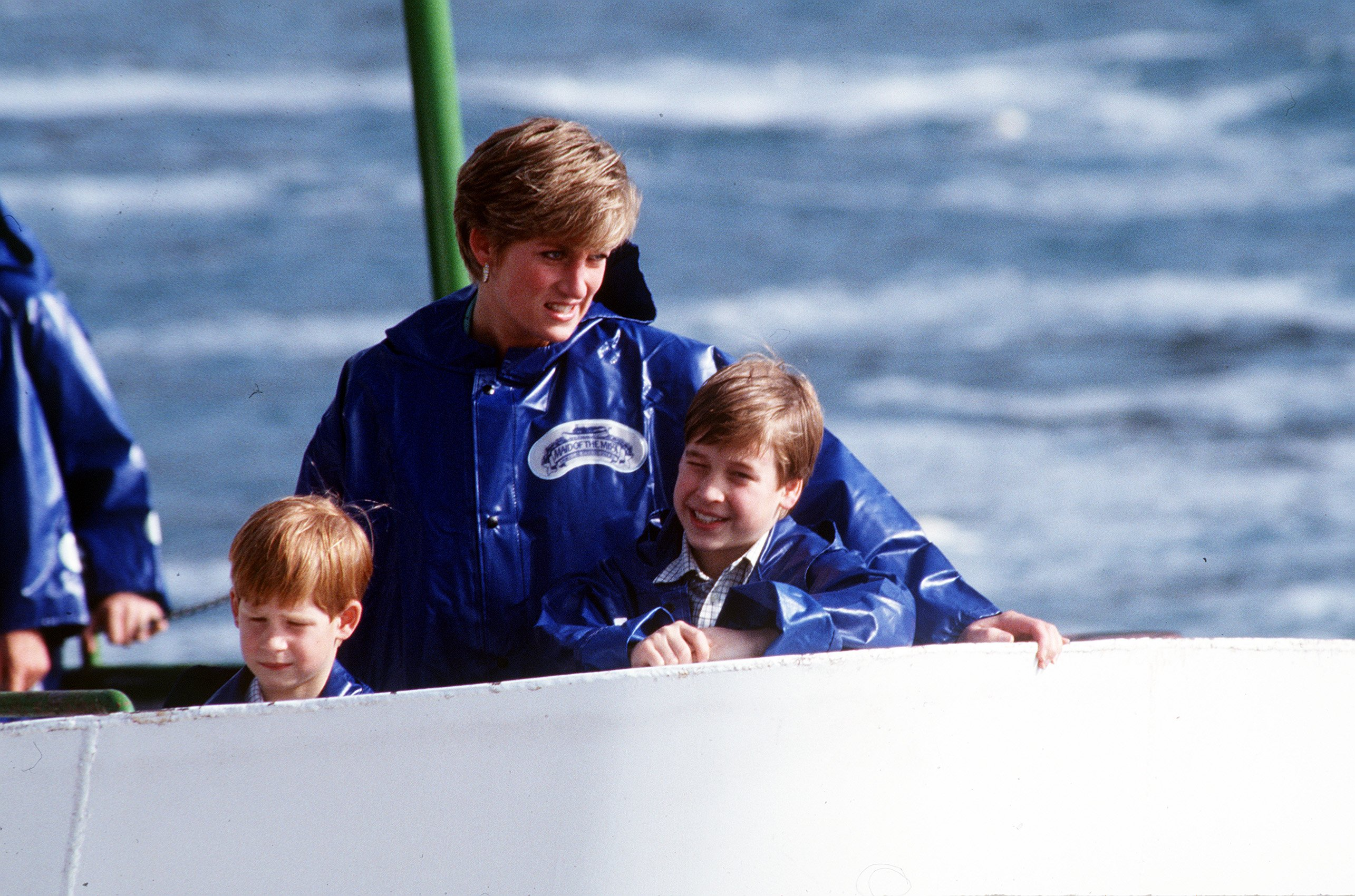 La défunte Princesse Diana avec le Prince Harry et le Prince William naviguant | Photo : Getty Images