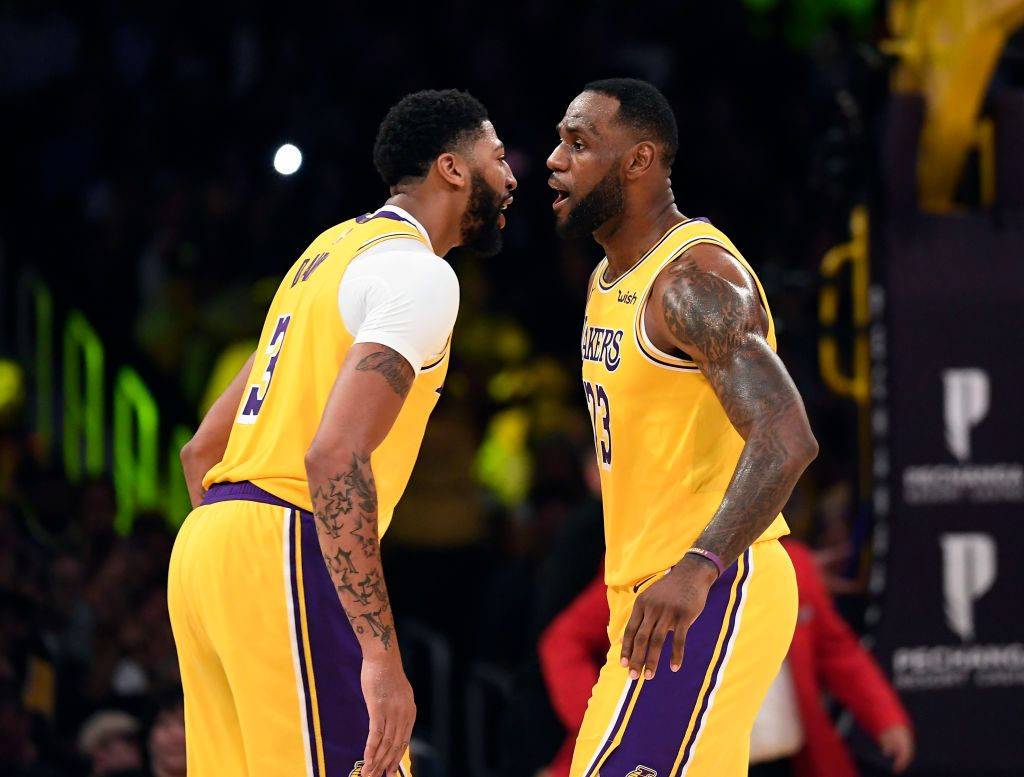 LeBron James #23 is congratulated by Anthony Davis #3 of the Los Angeles Lakers after scoring a basket against Memphis Grizzlies during the second half at Staples Center on October 29, 2019 in Los Angeles, California. | Source: Getty Images