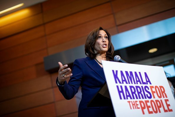 U.S. Sen. Kamala Harris speaks to reporters after announcing her candidacy for President of the United States, at Howard University on January 21, 2019, in Washington, DC.| Photo: Getty Images.