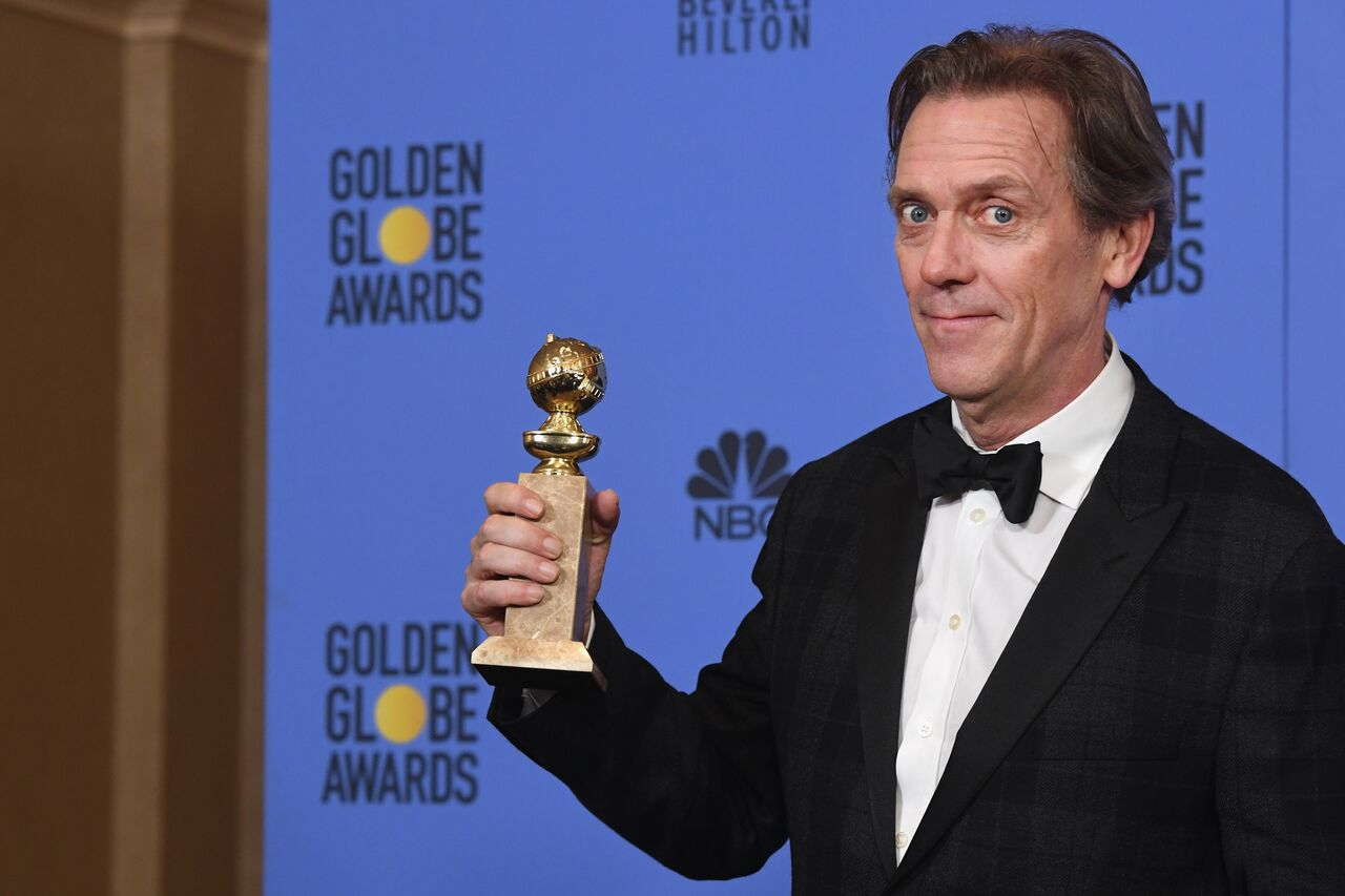 """Hugh Laurie, winner of Best Supporting Actor in a Series, Miniseries or Television Film for """"The Night Manager."""" 