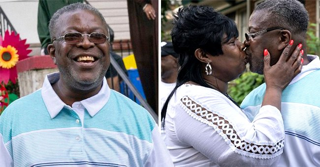 A man exonerated from prison after three decades of being wrongfully convicted kissing his fiancée.   Photo: twitter.com/HLNTV  twitter.com/ScottHech