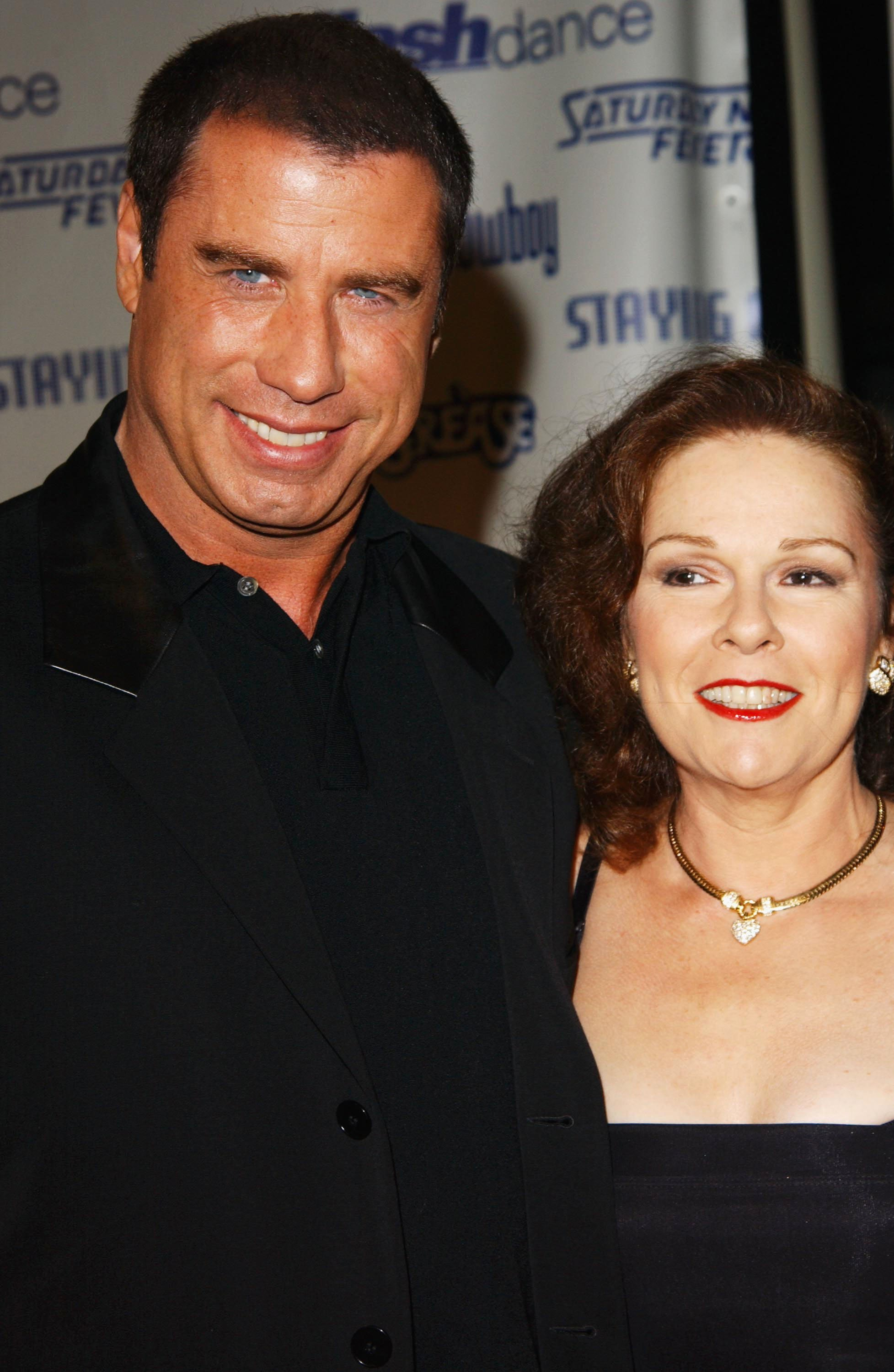 """Actor John Travolta with actress Karen Lynn Gorney from the movie """"Saturday Night Fever"""" attend the Celebration of Paramount Studio's 90th Anniversary. 