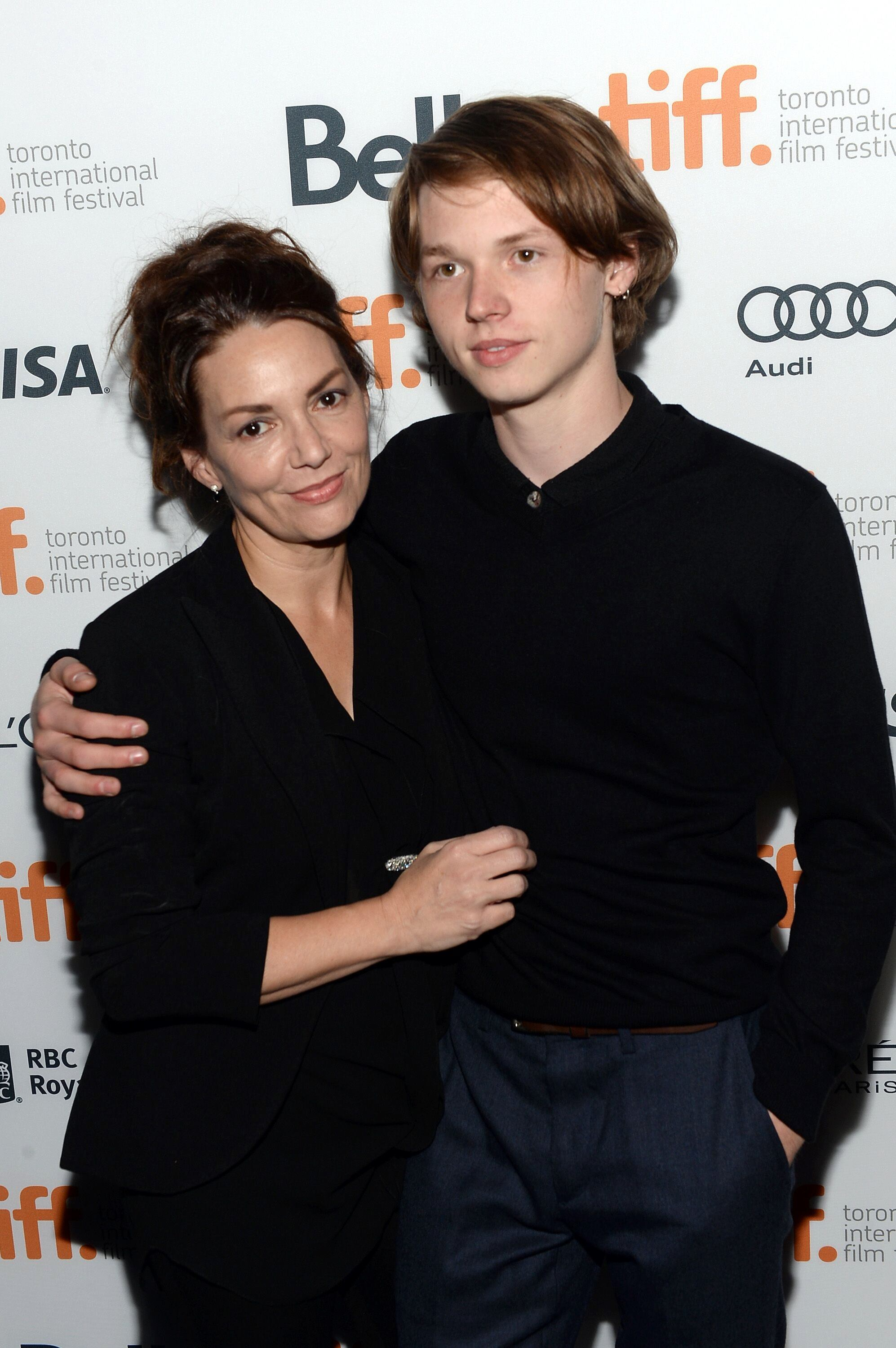 "Joanne Whalley (L) and actor Jack Kilmer arrive at the ""Palo Alto"" premiere during the 2013 Toronto International Film Festival. 