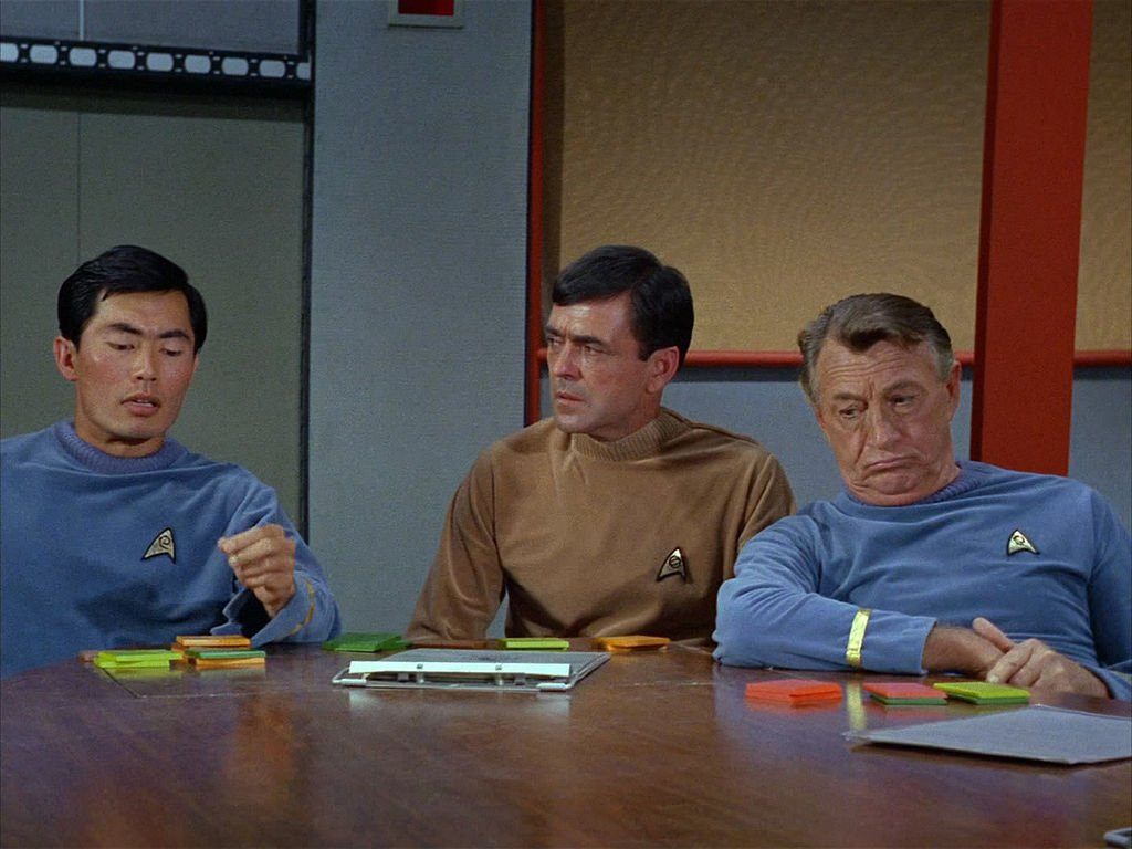 """George Takei, James Doohan, and Paul Fix  in Season 1, Episode 3 of """"Star Trek"""" episode, """"Where No Man Has Gone Before."""" Original air date, September 22, 1966. Image is a frame grab."""