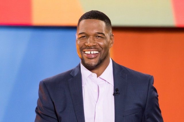 "Michael Strahan at ""Good Morning America"" at the Rumsey Playfield, Central Park on July 6, 2018 