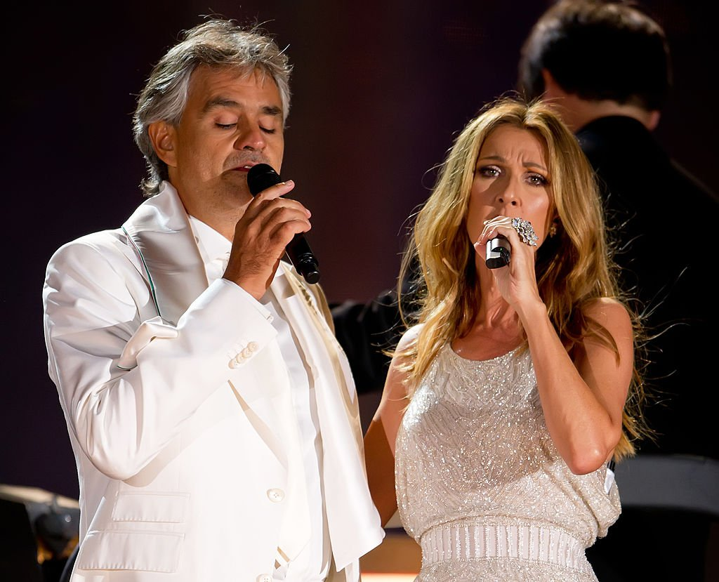Singers Andrea Bocelli and Celine Dion perform at the Central Park, Great Lawn on September 15, 2011 | Photo: Getty Images