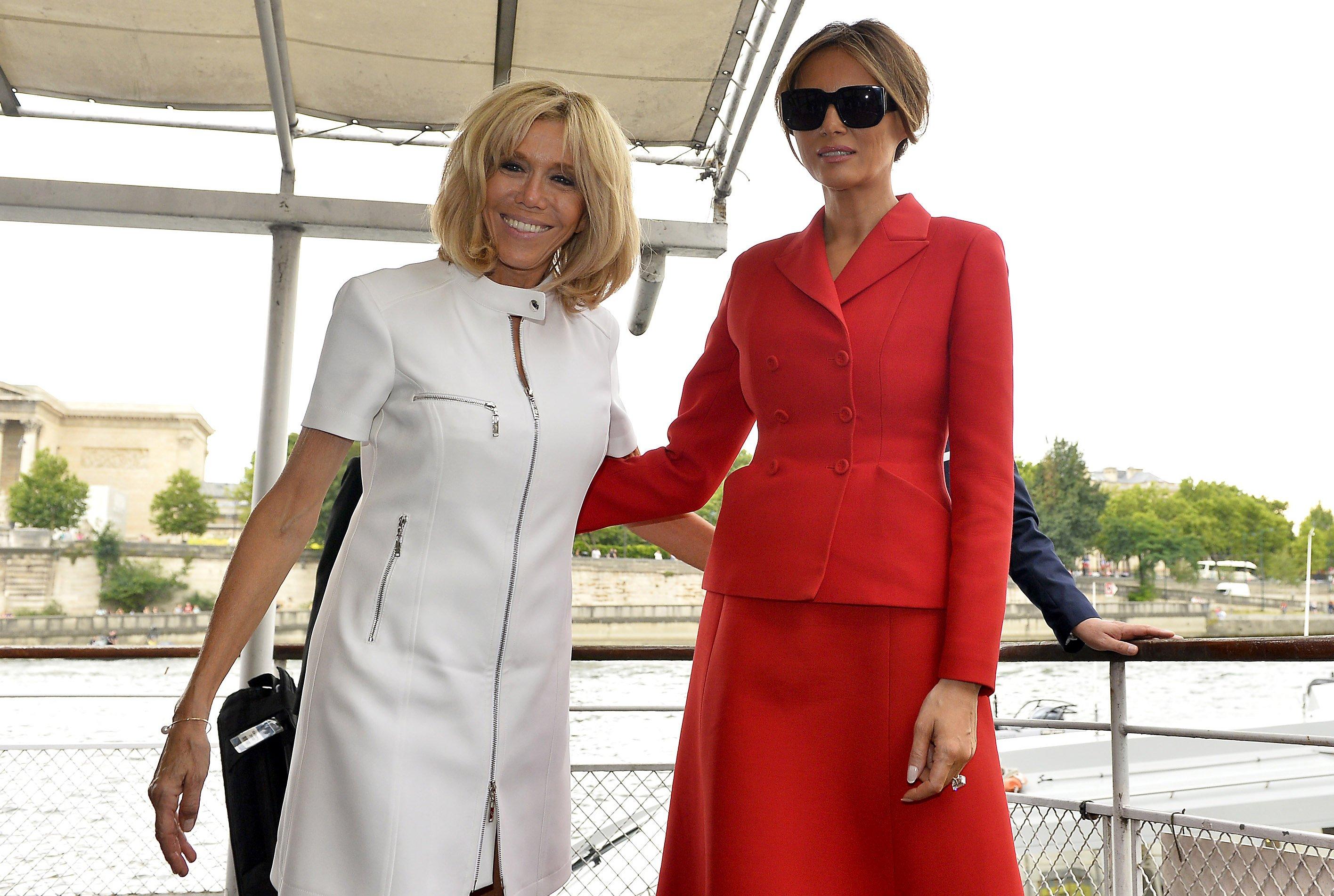 Brigitte Macron aux côtés de Melania Trump. l Source: Getty Images