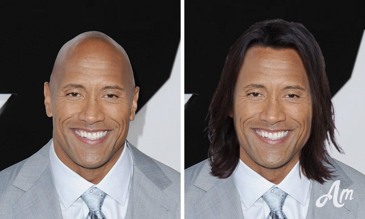The Rock with some seriously gorgeous long locks!