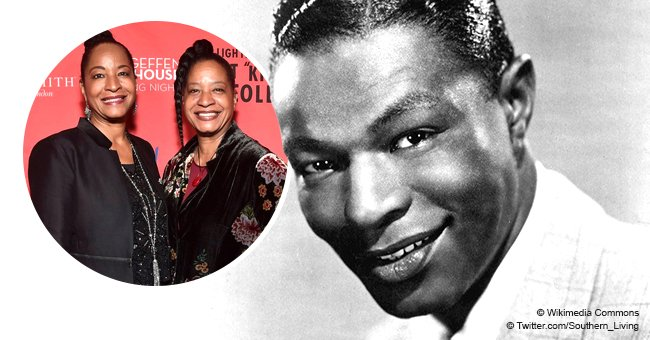 Nat King Cole's twin daughters pose together on his 100th birthday, showing off their resemblance
