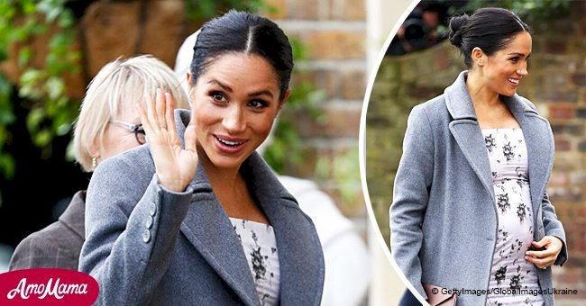 Meghan Markle's baby bump blossoms in $1,000 floral midi-dress as she visits a nursing home