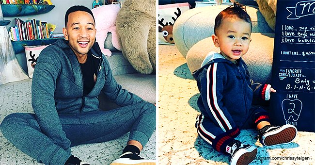 Chrissy Teigen Makes the Internet Swoon with Photo of John Legend Posing like His Mini-Me Son Miles