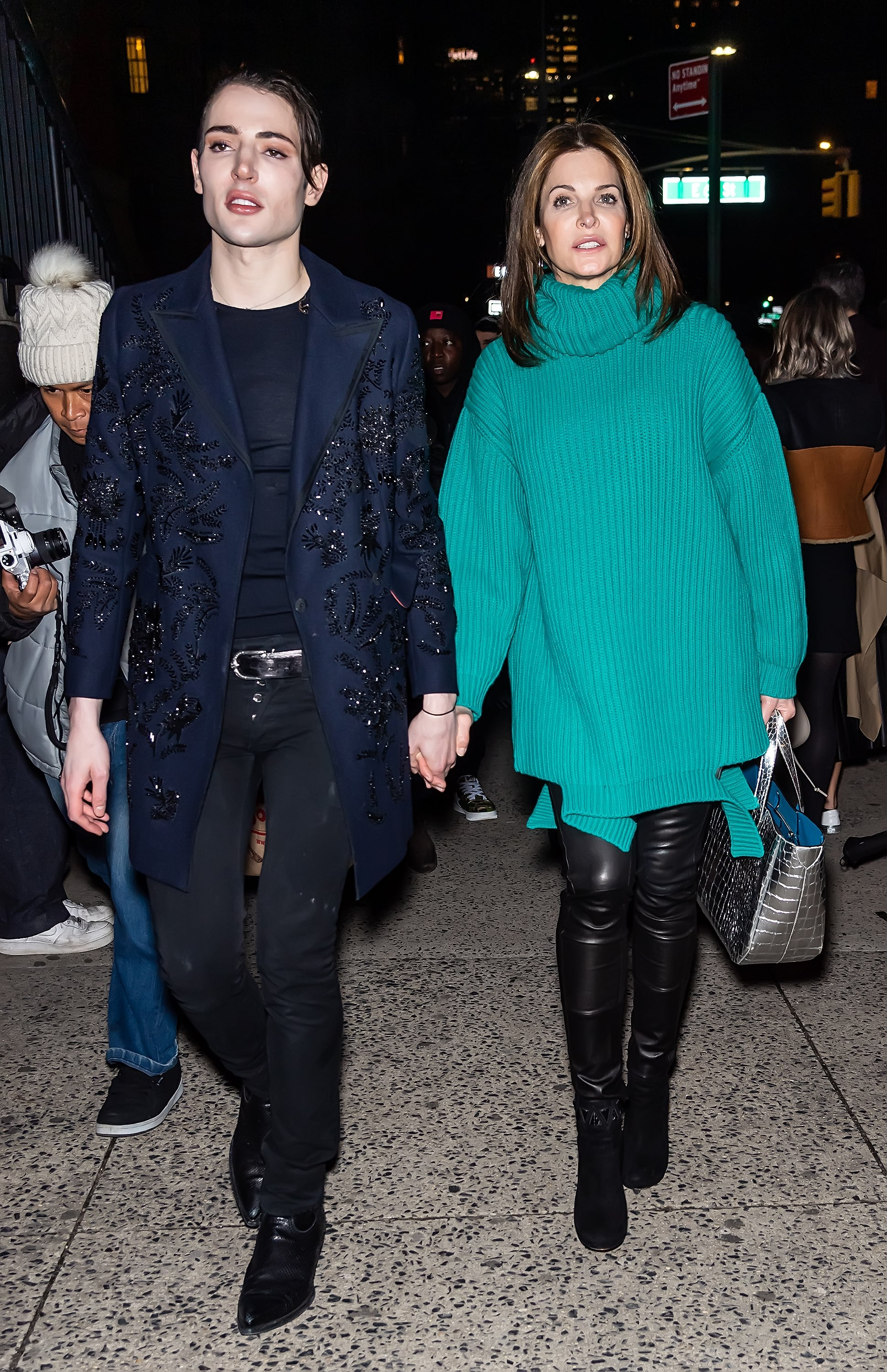 Stephanie Seymore and her son Harry Brant pictured leaving the Marc Jacobs Fall 2020 runway show, 2020, New York City. Photo: Getty Images.