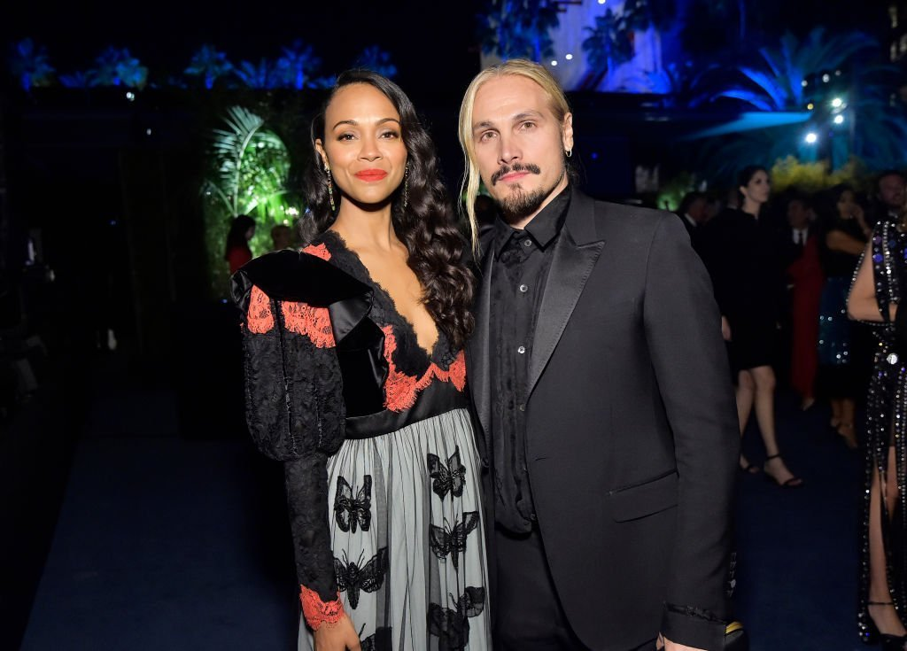 Zoe Saldana, wearing Gucci, and Marco Perego attend the 2019 LACMA Art + Film Gala Presented By Gucci at LACMA| Photo: Getty Images
