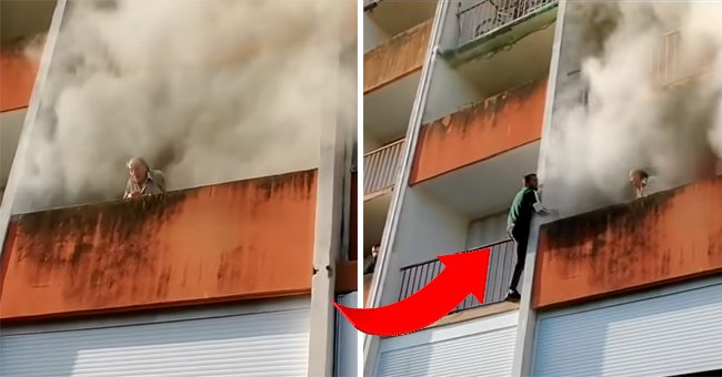The old man stranded on the balcony.   Source:  youtube.com/RT
