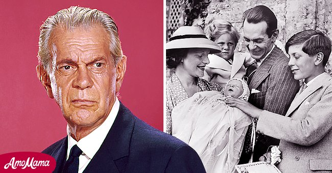 """Pictures of Raymond Massey from """"Dr. Kildare"""" and another of him with his wife and children 