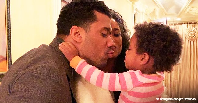 Russell Wilson tries to kiss Ciara but daughter Sienna wants mommy's kisses all to herself (video)