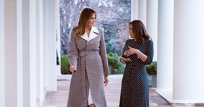 Melania Trump Welcomed the President & First Lady of Guatemala in $2,640 Plaid Coat with Oversized White Lapels