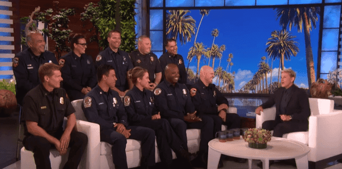 Ellen DeGeneres welcomes 10 firefighters who fought the California wildfires on her show on November 6, 2019. | Source: YouTube/TheEllenShow.