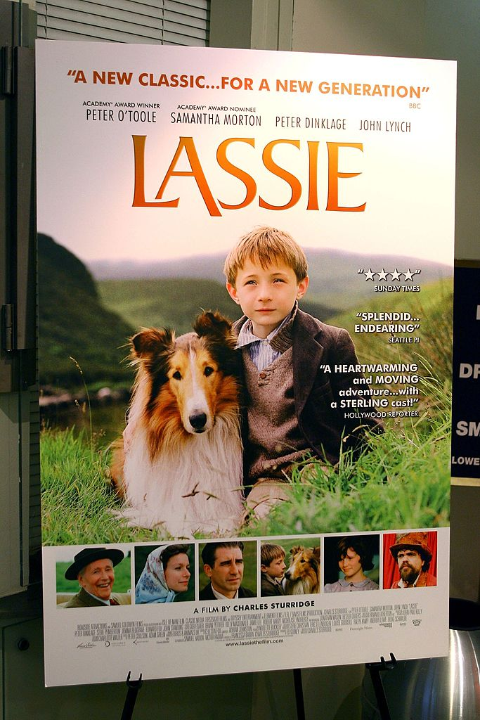 """Signage during the premiere of the new movie """"Lassie"""" at the French Insititute Alliance 