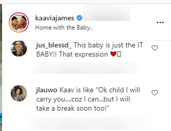 A fan's comment on one of Kaavia James' post on Instagram | Photo: instagram.com/kaaviajames