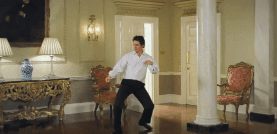 """Hugh Grant dancing through 10 Downing Street in the film """"Love Actually."""" 