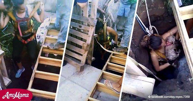 Valiente mujer arriesga su vida y se mete en pozo de 12 metros para salvar a 2 perros atrapados